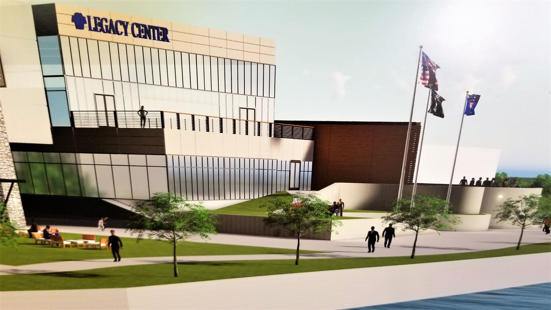 A drawing of the BHCCU Legacy Center