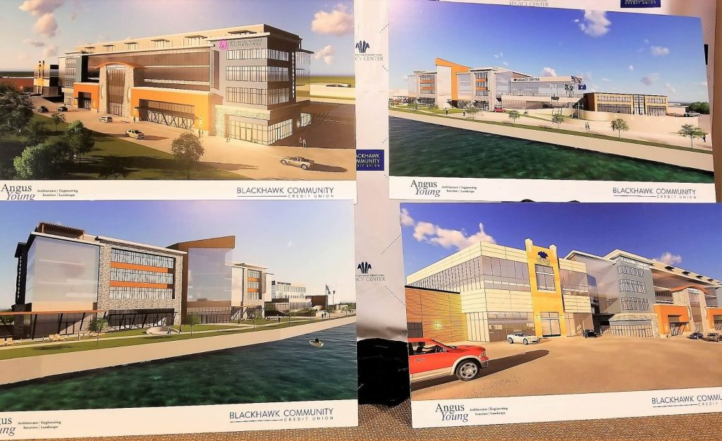 Drawings of Reflections Plaza and the Legacy Center