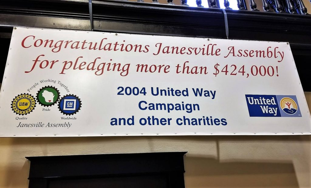 United Way sign from the plant