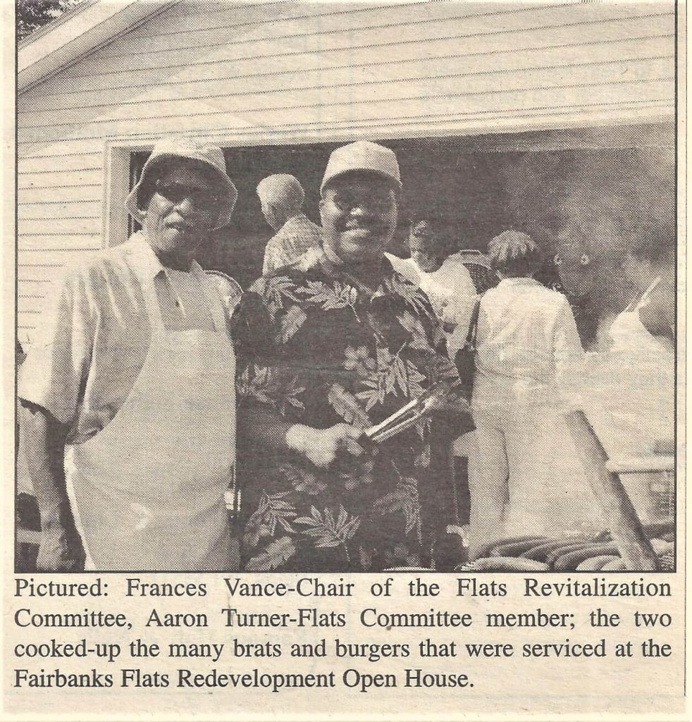 Committee Chair Frances Vance, left, Grilling Brats at Open House