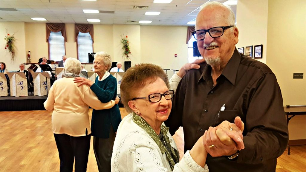 A recent Friday morning dance at the Janesville Senior Center