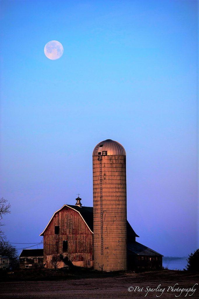Hauri farm under January's full moon - photo by Pat Sparling