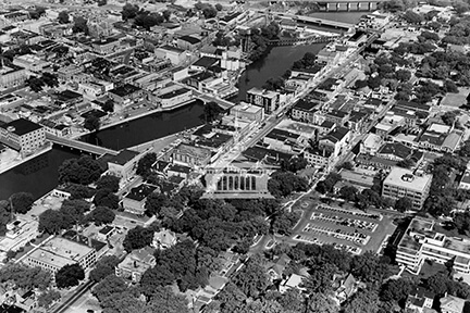 Aerial view of downtown Janesville, late 1950s
