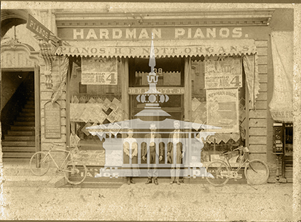 H.F. Nott Piano Store and Court Street Methodist Church, ca 1902