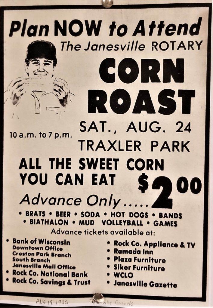 Janesville Gazette Corn Roast Ad from 1985