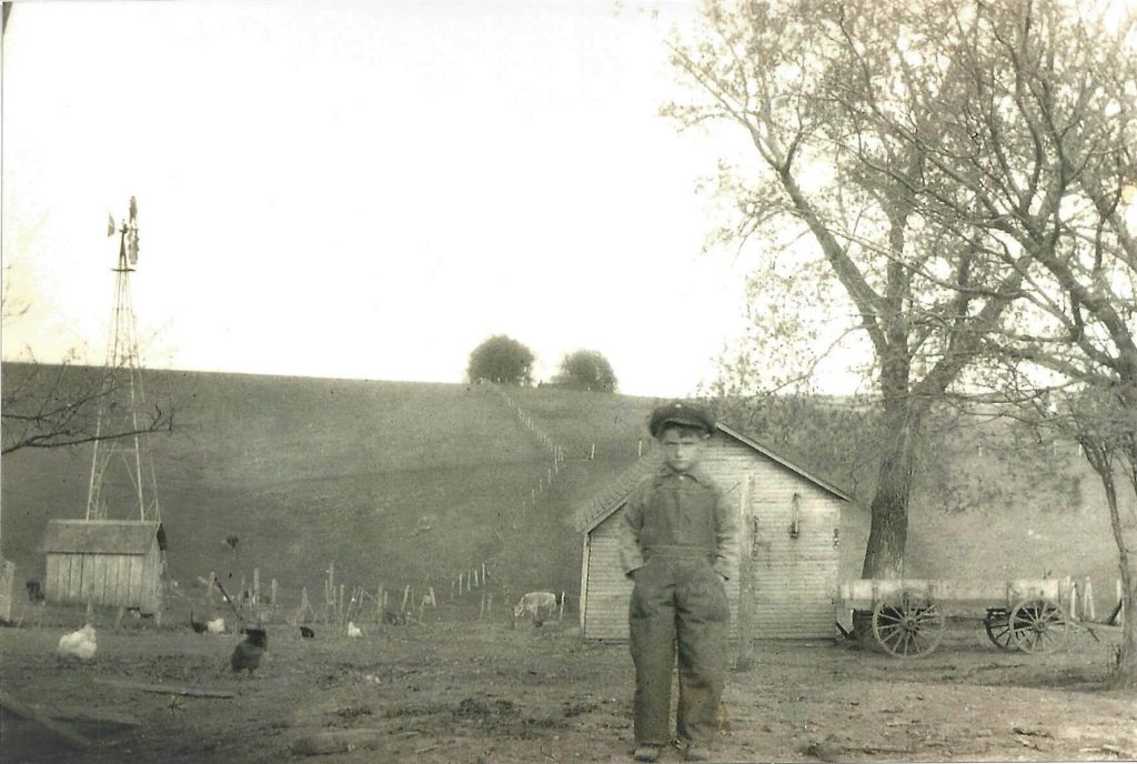 Milly's father at age 6 on the family farm