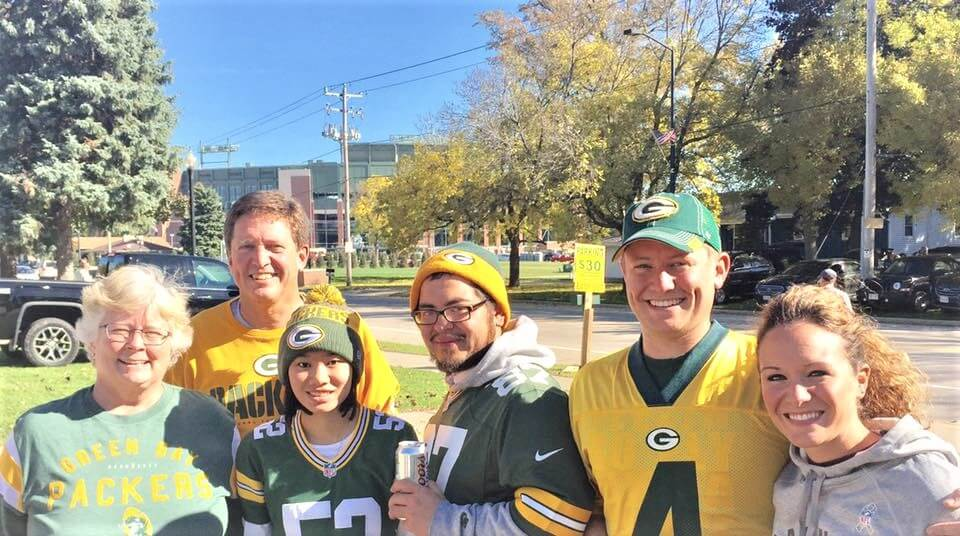 Squire Family Packers Game